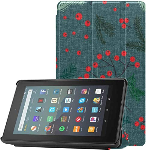 All-New Amazon Fire 7 Tablet Case (9th Generation, 2019 Release) Slim Fit Pu Leather Standing Jc Forest Rowan Berry Pine Fire 7 Tablet Standing with