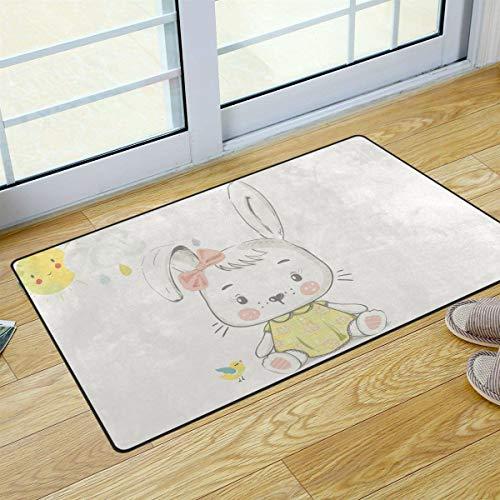Mr.Lucien Felpudo para puerta de entrada, diseño de conejo niña linda y fresca, para bebé, para exterior, antideslizante, con bloqueo de agua, para entrada, patio, 78,7 x 50,8 cm, 2020214