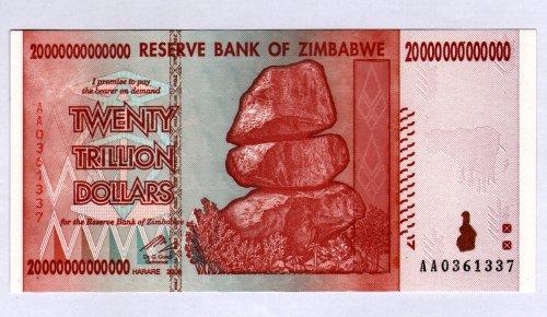 ZWD Reserve Bank von Simbabwe Z $ Dollar Banknote - 20 Trillion