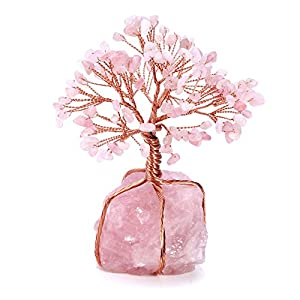 Top Plaza Chakra Healing Crystals Copper Money Tree Wrapped On Natural Rose Quartz Base Feng Shui Luck Figurine