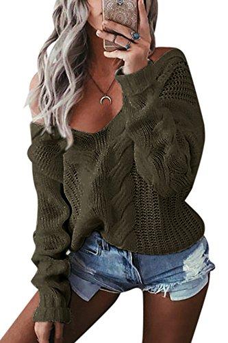 YOINS Oversize Pullover Damen Strickpullover Damen Sexy Off Shoulder Langarmshirt Schulterfrei V-Ausschnitt Causal T-Shirt,Aktualisierung-grün,L