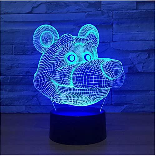 Luz De Noche Led De Dibujos Animados Lindo Oso 7 Colores Acrílico Lámpara De Ilusión Óptica 3D Lámpara De Mesa Decoración De Dormitorio