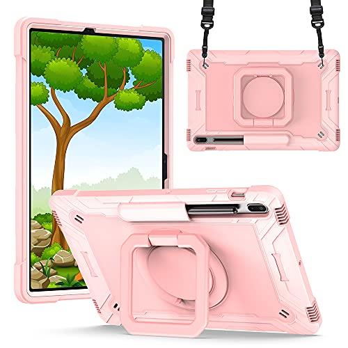 Xuanbeier Custodia Compatibile con Samsung Galaxy Tab S7 Plus e S7 Fe 12,4 Pollici SM-T970/T975/T730/T736 Robusta Custodia Corazzata Antiurto con Supporto Girevole a 360° e Impugnatura Portatile,Rosa
