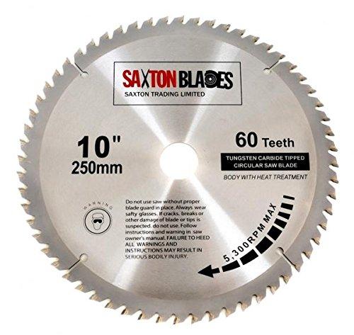 Saxton TCT Lame de scie à bois circulaire 250mm x 30mm x 60dents pour scie Bosch Makita Dewalt de 255mm