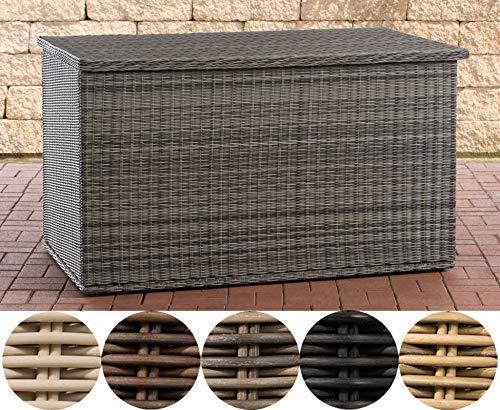 CLP Polyrattan Auflagenbox Comfy 5mm l Gartentruhe für Kissen und Auflagen I Kissentruhe mit Dämpfer, Farbe:grau-meliert, Größe:150