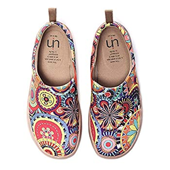 UIN Women s Blossom Painted Fashion Sneaker Canvas Slip-On Travel Shoes  8