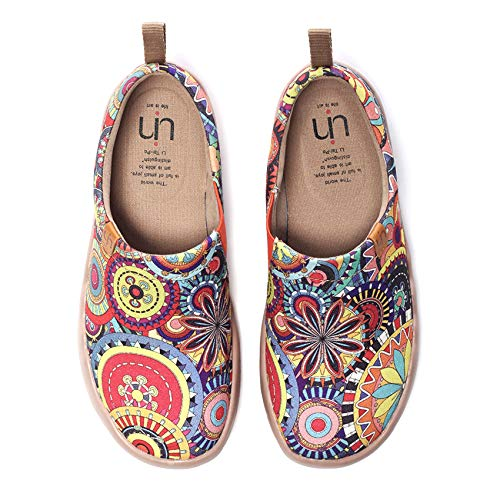 UIN Women's Blossom Painted Fashion Sneaker Canvas Slip-On Travel Shoes (5.5)