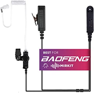 Mirkit Headset Covert Acoustic Tube Radio Earpiece with Mic for Two Way Radios with Reinforced Cable, Compatible with: Bao...