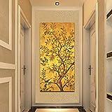 ganlanshu Carteles y murales Tradicionales de árboles y pájaros de la Suerte en el Lienzo de Pared, decoración de la Sala de Estar,Pintura sin Marco,50X100cm