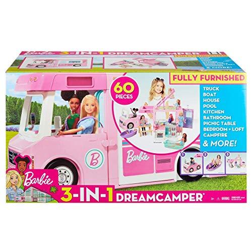 Barbie Caravana para acampar 3 en 1 de Barbie con piscina, c