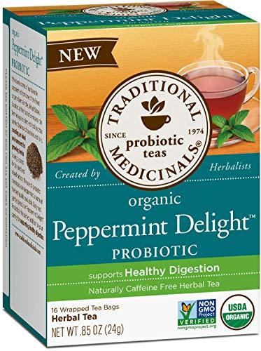 Traditional Medicinals Organic Peppermint Delight Probiotic Tea, 16 Tea Bags (Pack of 1)