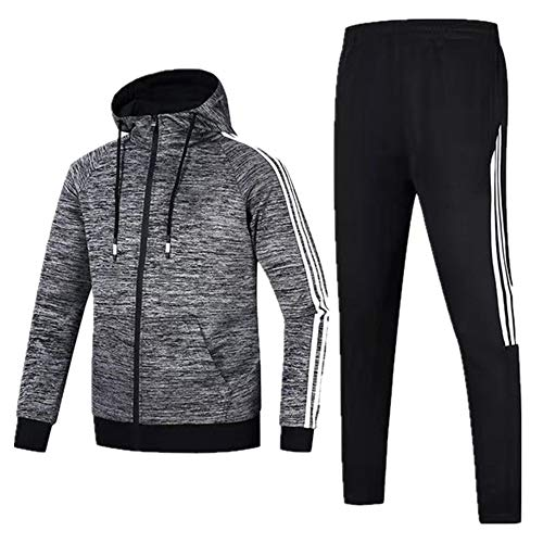 Otoño ropa deportiva de los hombres con capucha chaqueta de la chaqueta de correr fitness traje deportivo delgado de gran tamaño casual