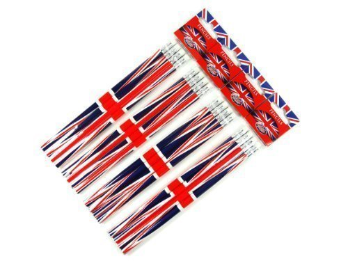 Stationeries LONPEN002 Lot de 4 paquets de 4 crayons à papier avec embout gomme souvenirs de Londres Design Union Jack