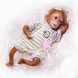 Nicery 48-50 cm Muñecas Reborn Mono Bebé Cuerpo de Tela de Vinilo de Silicona Suave para Niños y Niñas Juguetes de Regalo de Cumpleaños y Navidad gxm-6es