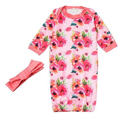 Julhold Ensemble pyjama en coton pour nouveau-né bébé Motif floral 0-2 ans - Rose - 23 EU