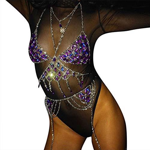 Asamio Damen und Mädchen Strass Körperkette Quaste Bikini Ketten Sexy Body BH Schmuck Gr. Medium, blau