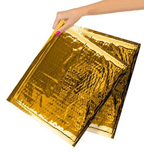 ABC Pack of 10 Metallic Bubble Mailers 13 x 11. Gold Padded Envelopes 13 x 11. Glamour Bubble Mailers. Peel & Seal Cushion Packaging Mailers. Mailing, Packing, Wrapping, Shipping.