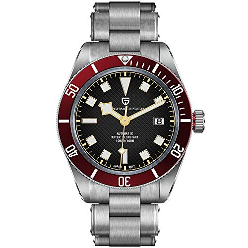 Pagani Design Black Bay 58 Relojes automáticos para Hombres Reloj de Pulsera mecánico Informal de Negocios Reloj Deportivo 100M Impermeable para Hombres Bisel de cerámica Japón NH35A Reloj Luminoso