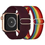 Elastisch Armband Kompatibel mit Apple Watch Armband 38mm 40mm, Dehnbar Verstellbar Solo Loop Nylon...