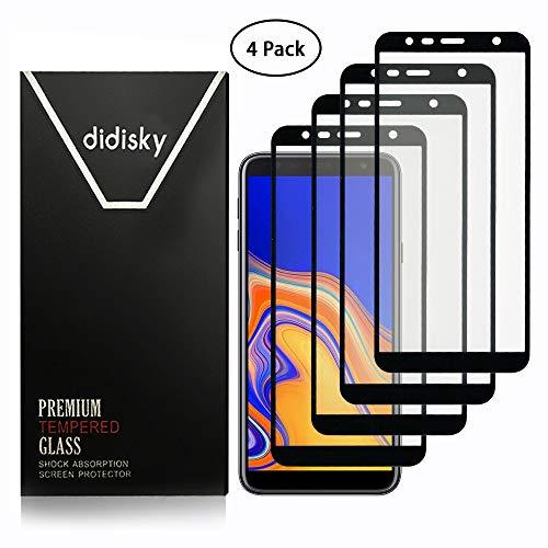 Didisky Vetro Temperato per Samsung Galaxy J4 Plus / J6 Plus, [4 Pezzi ] Pellicola Protettiva Copre Assolutamente Lo Schermo, Compatibile con la Cover, Trasparente, (Nero)