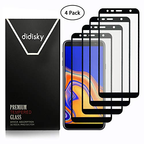Didisky Verre Trempé pour Samsung Galaxy J4 Plus/Galaxy J6 Plus, [4 Pièces] Film Protection écran Vitre Tempered Screen Protector [ Couverture Complète ] Dureté 9H (Noir)
