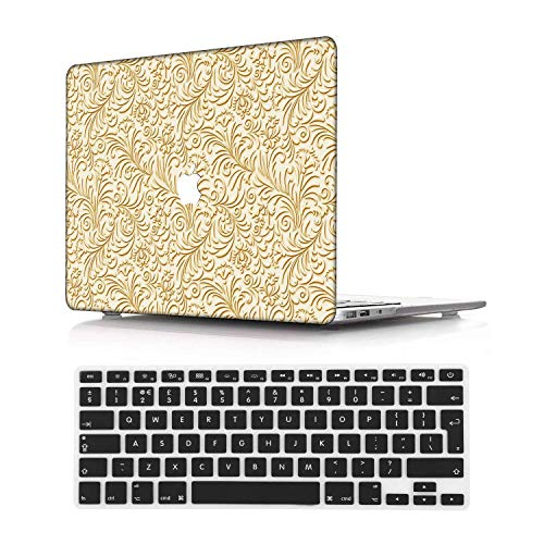NEWCENT New MacBook Pro 13' Case,Plastic Ultra Slim Light Hard Case UK Keyboard Cover for Mac Pro 13 with/Without Touch Bar 2019 2018 2017 2016 Release(Model:A2159/A1989/A1706/A1708),Golden 8