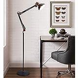 DLLT Modern Metal Floor Lamp, Flexible Swing Arms Reading Floor Lamp with Metal Shade, Adjustable Head Tall Industrial Standing Lamp for Living Room, Bedroom, Office, Study Room, E26 (Matte Black)