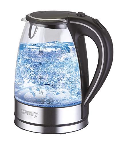 Camry CR 1239 Elektrischer Wasserkocher, Glas, Kunststoff, Schwarz, Transparent, 1,7 Liter