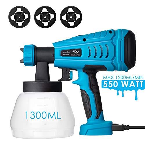 Tilswall Farbsprühsystem 1200 ml/min Elektro Lackierpistole Farbspritzpistole Farbspritzgerät 550W für Lacke & Wandfarbe im Innen- & Außenbereichmit, 1300ML Behälter, 3 Düsenspitzen, Max 120 DIN/s