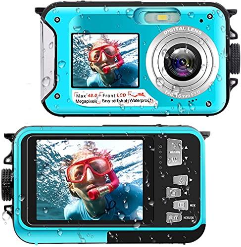 Unterwasserkamera Full HD 2.7K 48MP Unterwasser Kamera zum Schnorcheln wasserdichte Digitalkamera mit Zwei Bildschirmen, Selbstauslöser und 16X Digitalzoom