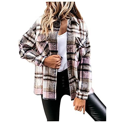 Wave166 Camiseta de manga larga para mujer, a cuadros, para otoño, marrón, L