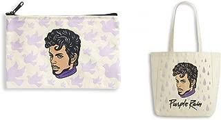 Set Bag Tote & Cosmetic Make Up Pencil Pouch PRINCE Purple Rain Canvas, White, Large