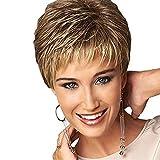 Parrucca sintetica Onda naturale, Pixie Cut Layered taglio di capelli a strati laterali parte parrucca Ombre di media lunghezza, capelli sintetici femminili naturale attaccatura dei capelli,A