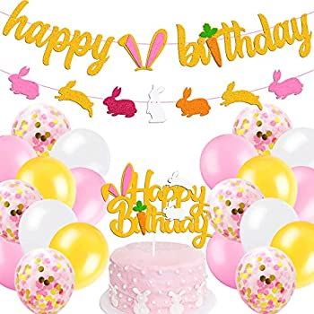 Bunny Birthday Decorations Kit Rabbit Theme Happy Birthday Banner Cake Topper Pink Gold White Latex Balloons for Children Girl 1st 2nd Bday Happy Easter Spring Party Supplies