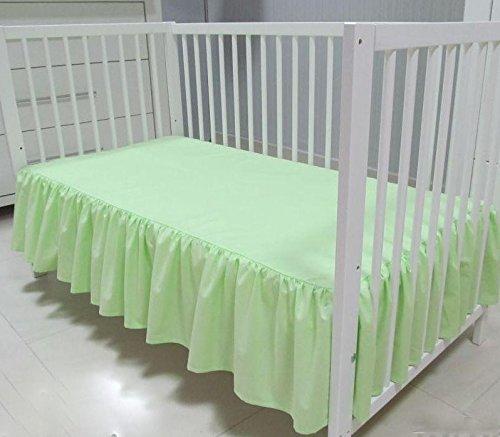 Babymajawelt® Bettvolant Betthusse Spannbetttuch Baumwolle Spannbettlaken für Babybett 70x140 oder 60x120cm (60x120, grün)