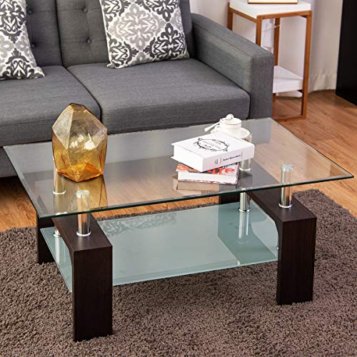 Bright Wooden TANGKULA Glass Coffee Table Modern Simple Style Rectangular Wood Legs End Side Table Living Room Home Furniture with Shelf