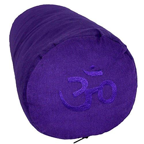 Tvamm-Lifestyle Special - Cuscino a rullo per yoga, 65 x 22 cm (diametro), imbottitura in grano saraceno, Lilla Riti