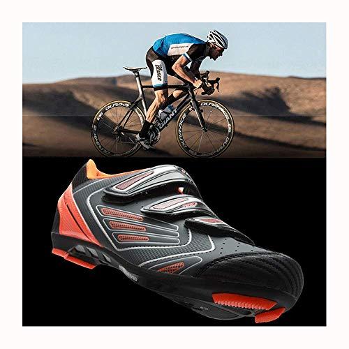 Rennradschuh Fahrradschuhe SPD Pedale Atmungsaktive Mountainbike Schuhe Outdoor Selbsthemmende Männer Frauen MTB Sneaker,Orange-45