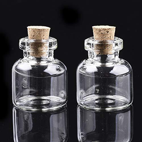 Cheriswelry 20 botellas de cristal de 9 ml con tapón de corcho para decoración de manualidades