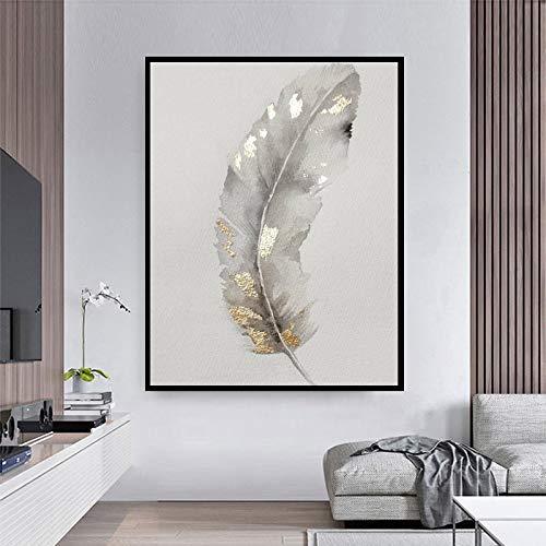 BGFDV Cartel de Pintura al óleo de Plumas de Plata Pintura de Arte de Pared decoración de Sala de Estar Impresiones de Pintura decoración del hogar