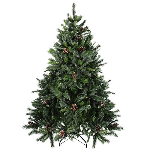 Northlight 7' Unlit Full Snowy Delta Pine with Cones Artificial Christmas Tree