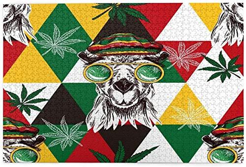 Jigsaws 1000 piezas para adultos y niños 29.5 x 19.6 pulgadas (75 x 50 cm) camellos de marihuana rompecabezas sin marco