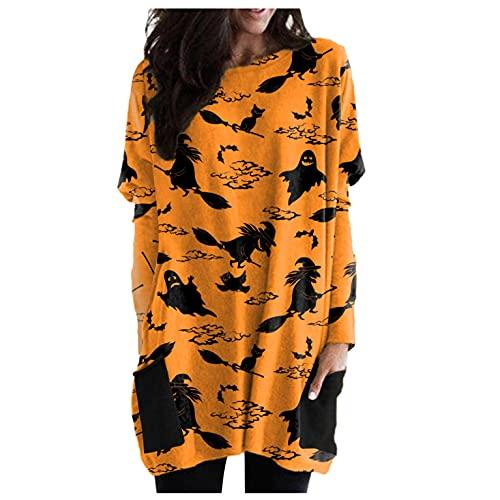 SHOBDW Baratas Mujer Suéter Largo 2021 El Nuevo Halloween Calabaza Pullover Calabaza Patrón Divertido Camiseta Mujer Cuello Redondo Bolsillo Moda Suelto Sudadera Tallas Grandes(Amarillo,L)