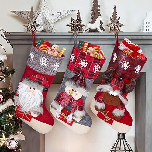 """Toyvian Weihnachtsstrumpf 3Pcs 19.6"""" Große Größe Weihnachtsstrumpf Schneemann Elch Santa Claus Weihnachtsfigur 3D Plüsch für Familienurlaub Weihnachtsfeier Dekorationen"""