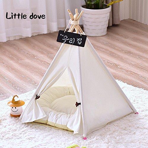 little dove,Hunde-Tipi-Zelt, Hause und Zelt mit Spitze für Hund oder Haustier, abnehmbar und waschbar mit Matraze,Weisse (S)
