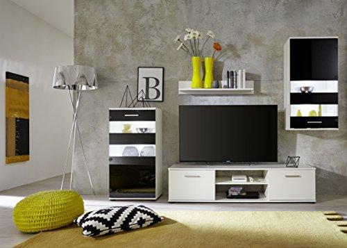 trendteam 1573-001-02 Wohnwand Weiß,  Klarglas Schwarz Siebdruck, BxHxT 222x177x40 cm - 6