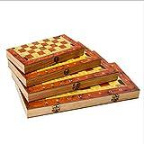 Ya-Ya Ajedrez de Madera Plegable Internacional, Tablero de ajedrez de Calidad, Juego de ajedrez de Madera, Entretenimiento, Juguete de Regalo, Juego de ajedrez Talla:XL