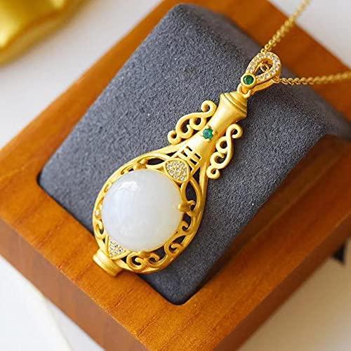 JIUXIAO Colgante de Jade Hotian S925 de Plata esterlina para Mujer con Incrustaciones de Oro Antiguo Natural Hetian Jade Jue Suet Collar Personalizado