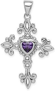 925 Sterling Silver Purple Amethyst Cross Religious Pendant Charm Necklace Birthstone February Fine Jewelry For Women