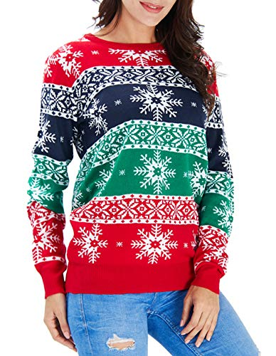 Men Women Ugly Christmas Sweater Holiday Party Xmas Sweater Family Casual Knitted Red Blue and Green Striped Snowflakes Pullover Christmas Jumper